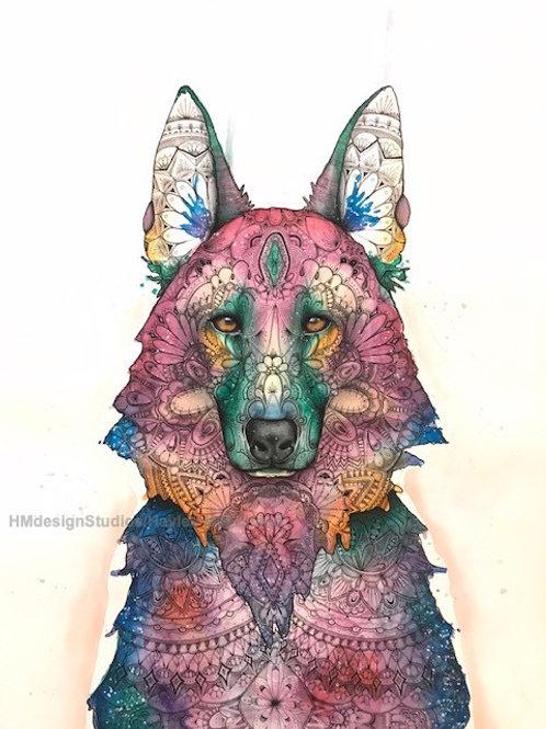 LIMITED EDITION PRINT Cosmic German Shepherd, Watercolor, Pen&Ink by H.McFarland