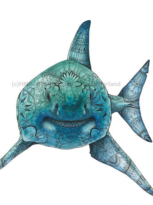 Shark ORIGINAL, Watercolor and Pen & Ink, by Haylee McFarland