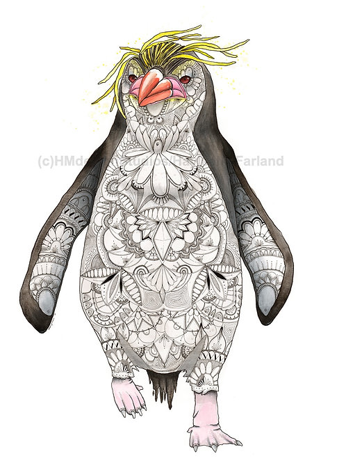 Penguin ORIGINAL, Watercolor and Pen & Ink, by Haylee McFarland