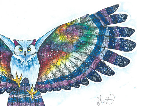 Cosmic Owl Print, Watercolor and Pen and Ink by Haylee McFarland