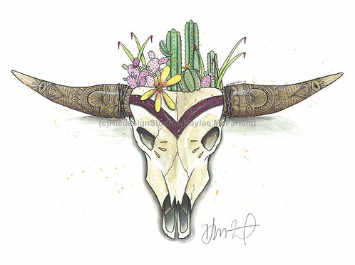 Spikes and Horns (Maroon) ORIGINAL Watercolor and Pen & Ink by Haylee McFarland