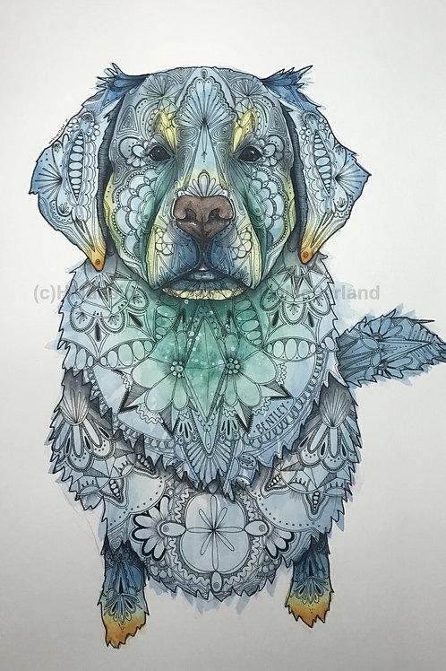 Golden Retriever #1 Print, Watercolor and Pen & Ink by Haylee McFarland