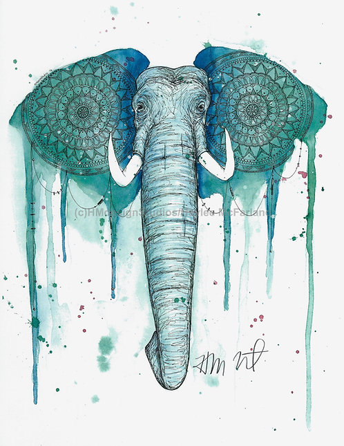 Teal Elephant Print, Watercolor and Pen and Ink by Haylee McFarland