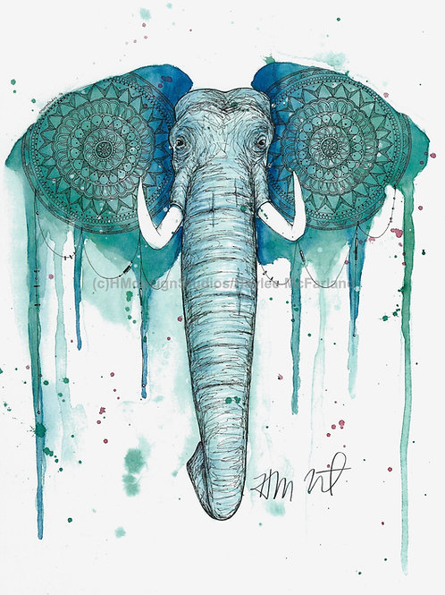 Teal Elephant ORIGINAL, Watercolor and Pen & Ink by Haylee McFarland