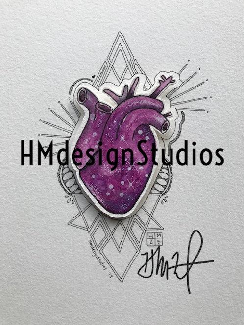 ORIGINAL Magenta Cosmic Anatomical Heart, Watercolor-Pen-Ink by Haylee McFarland