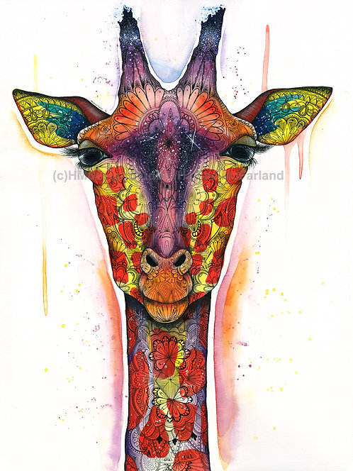 Cosmic Giraffe Print, Watercolor and Pen and Ink by Haylee McFarland