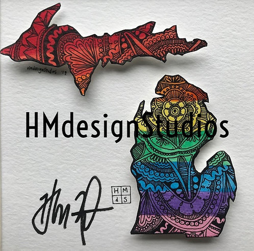 ORIGINAL Michigan State Shape, Watercolor and Pen&Ink by Haylee McFarland