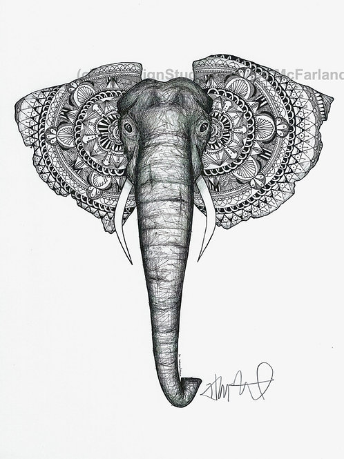 Black and White Elephant #1 Print, Pen and Ink by Haylee McFarland