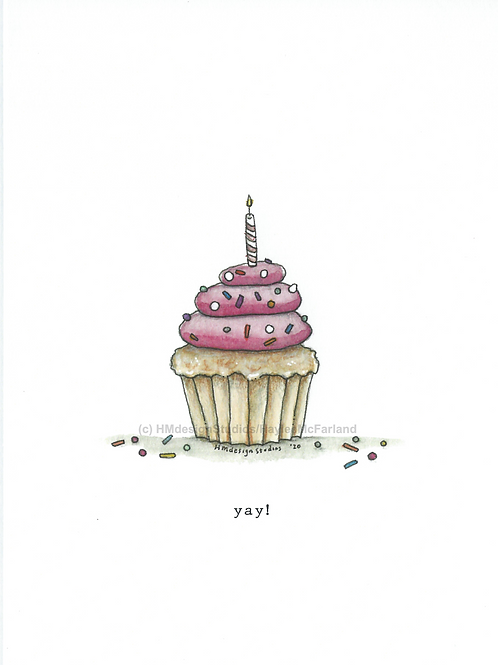 Cupcake Greeting Cards, Watercolor and Pen & Ink by Haylee McFarland