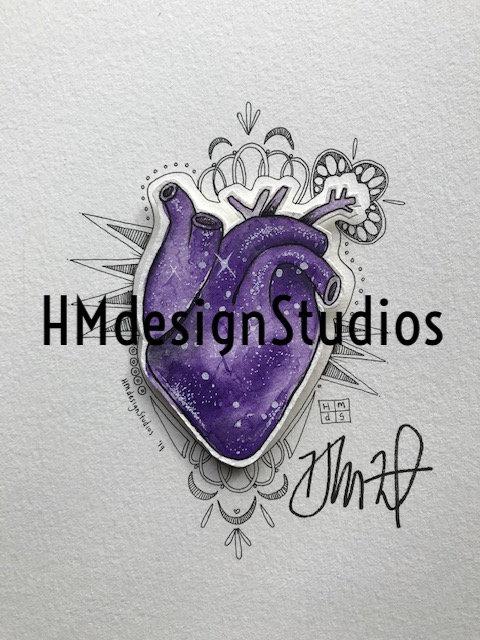 ORIGINAL Purple Cosmic Anatomical Heart, Watercolor, Pen,Ink by Haylee McFarland