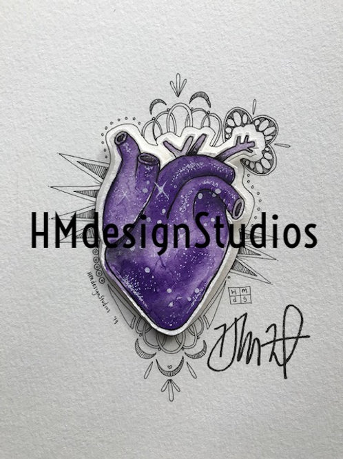 ORIGINAL Purple Cosmic Anatomical Heart, Watercolor, Pen,Ink by Haylee McFarland