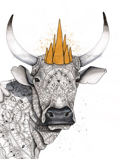 Year of the Ox, ORIGINAL, Watercolor and Pen & Ink, by Haylee McFarland