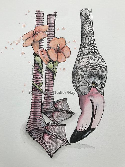 ORIGINAL Flamingo, Watercolor and Pen & Ink by Haylee McFarland