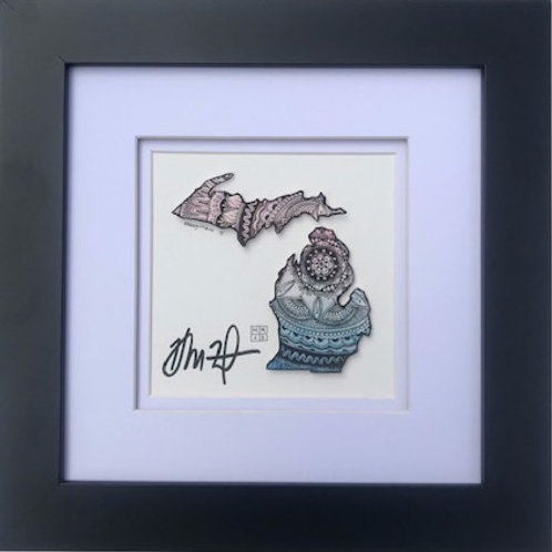 ORIGINAL One-of-a-Kind State Shape Watercolor and Pen & Ink, by Haylee McFarland