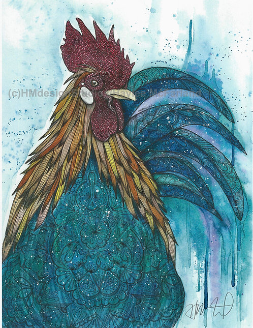Rooster Print, Watercolor and Pen and Ink by Haylee McFarland