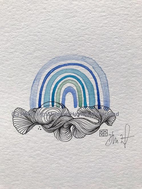 Rainbow Mini ORIGINAL, Watercolor and Pen & Ink by Haylee McFarland