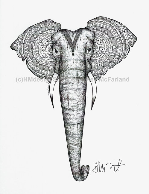 Black and White Elephant with Headdress Print, Pen and Ink by Haylee McFarland