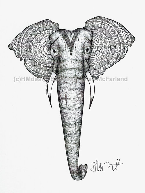 Elephant with Headdress Black and White ORIGINAL, Pen and Ink by Haylee McFarlan