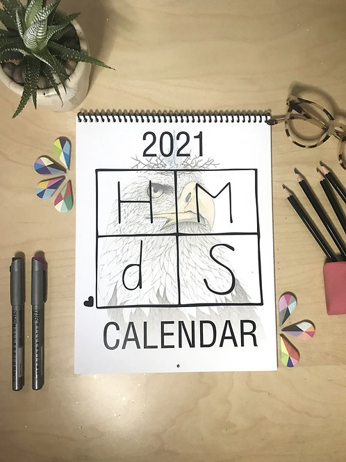 2021 HMdS Calendar, Spiral Bound, Watercolor and Pen & Ink, by Haylee McFarland