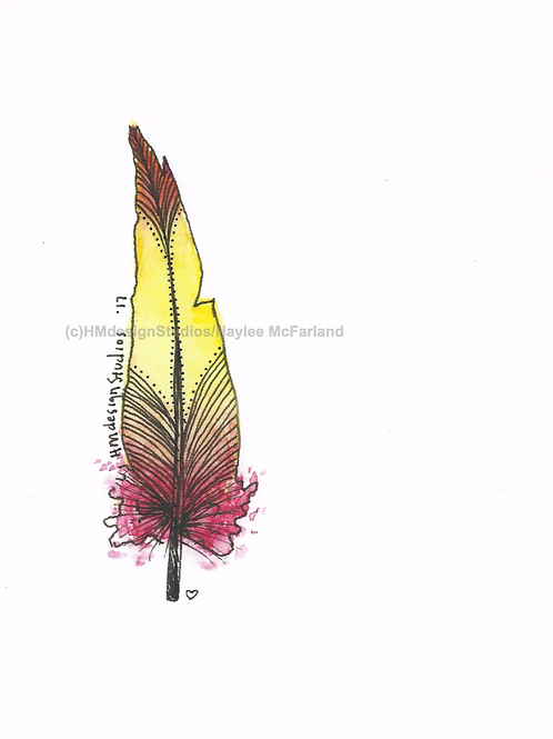 Strawberry Lemonade Feather Inspirational Card by Haylee McFarland