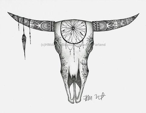 Black /White Long Horn Skull #1 Print, Handdrawn Pen & Ink by Haylee McFarland