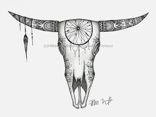Longhorn Skull #1 Black and White ORIGINAL Pen & Ink by Haylee McFarland