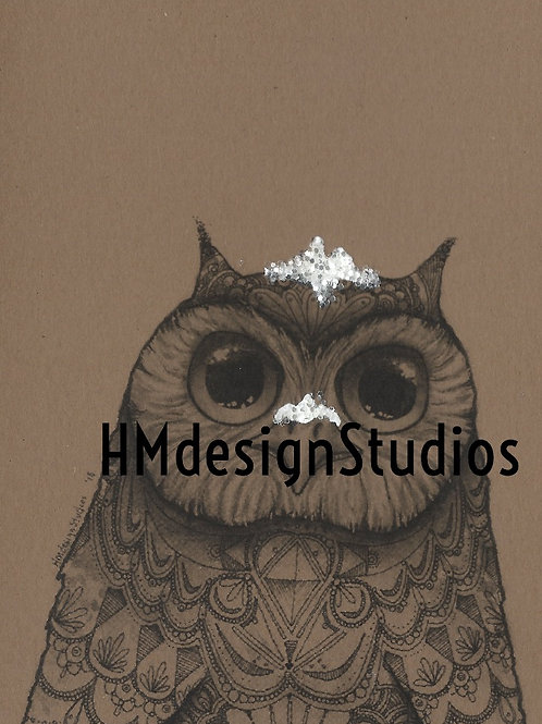 Snowy Big Eyed Owl winter card by Haylee McFarland