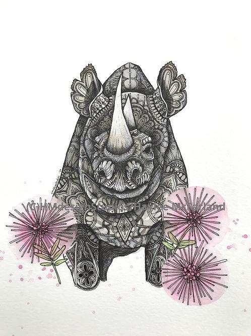 ORIGINAL Rhino, Watercolor and Pen & Ink by Haylee McFarland
