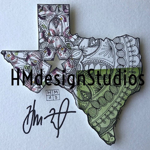 ORIGINAL Texas State Shape, Watercolor and Pen & Ink by Haylee McFarland
