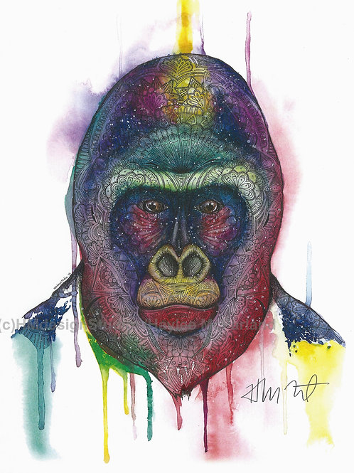 Cosmic Gorilla ORIGINAL, Watercolor and Pen & Ink, by Haylee McFarland