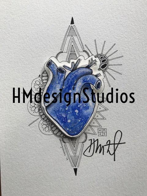ORIGINAL Navy Cosmic Anatomical Heart, Watercolor, Pen,Ink by Haylee McFarland