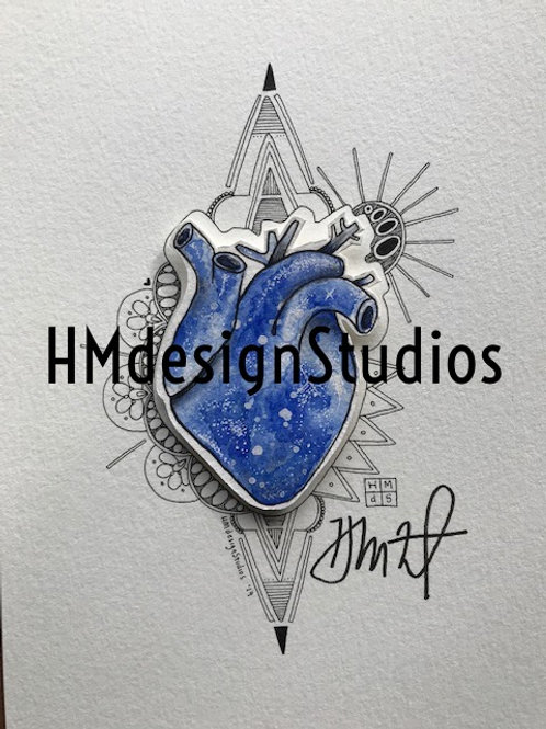 ORIGINAL Navy Cosmic Anatomical Heart, Watercolor, Pen,Ink by Haylee McFarland