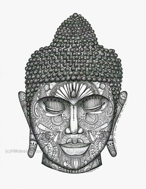 Black and White Buddha Print, Handdrawn Pen and Ink by Haylee McFarland