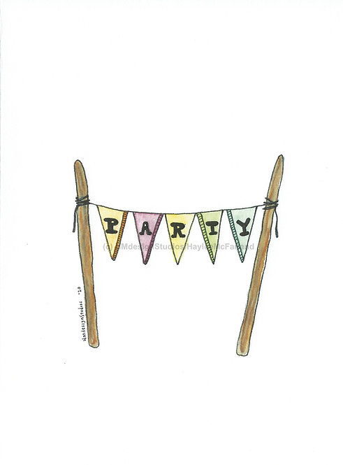 Party Pennants Greeting Cards, Watercolor and Pen & Ink by Haylee McFarland