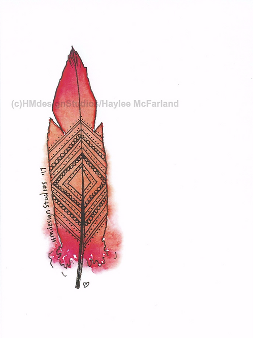 Orange Sicle Feather Inspirational Card by Haylee McFarland