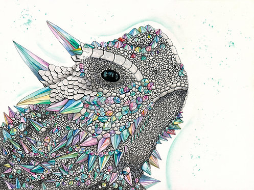 Crystal Horned Frog ORIGINAL, Watercolor and Pen & Ink, by Haylee McFarland