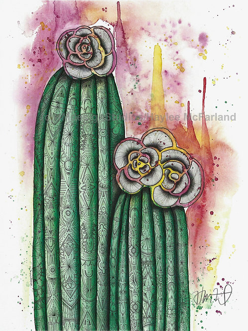 Cactus with Flowers ORIGINAL, Watercolor and Pen & Ink, by Haylee McFarland