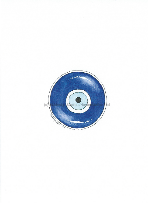 Evil Eye Greeting Card, Watercolor and Pen & Ink by Haylee McFarland