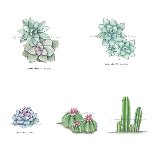 Cactus Collection Greeting Cards, Watercolor and Pen&Ink by H.McFarland