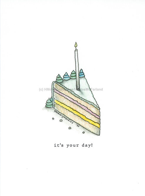 Slice of Cake Greeting Cards, Watercolor and Pen & Ink by Haylee McFarland