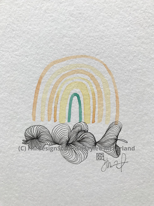 Rainbow Mini ORIGINAL, Watercolor and Pen & Ink by Haylee McFarland