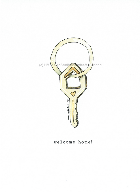 Single Home Key Greeting Cards, Watercolor and Pen & Ink by Haylee McFarland