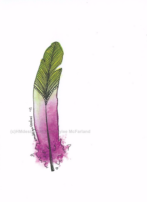 Raspberry Limeade Feather Inspirational Card by Haylee McFarland