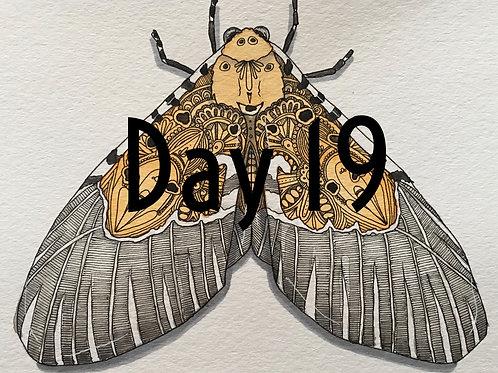 ORIGINAL Flying Kiwi Moth Watercolor and Pen & Ink by Haylee McFarland