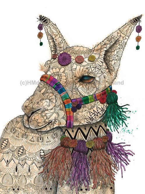 Decorated Llama, ORIGINAL, Watercolor and Pen & Ink, by Haylee McFarland