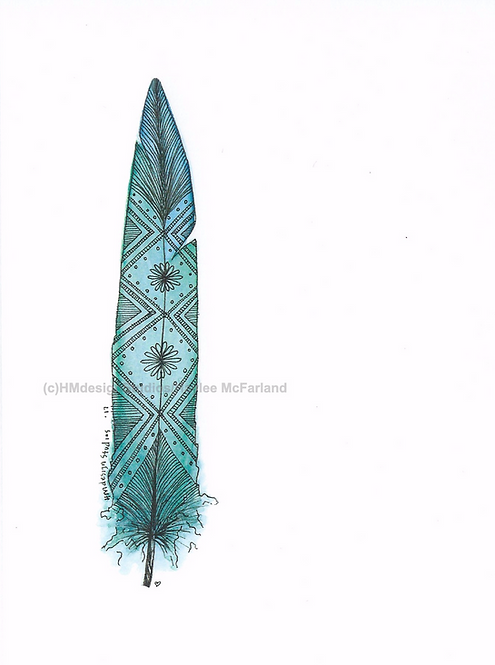 Mint Chocolate Chip Feather Inspirational Card by Haylee McFarland