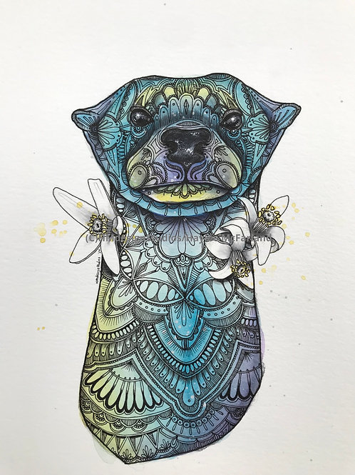 ORIGINAL Sea Otter, Watercolor and Pen & Ink by Haylee McFarland