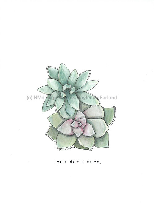 Succulent Greeting Card, Watercolor and Pen & Ink by H.McFarland