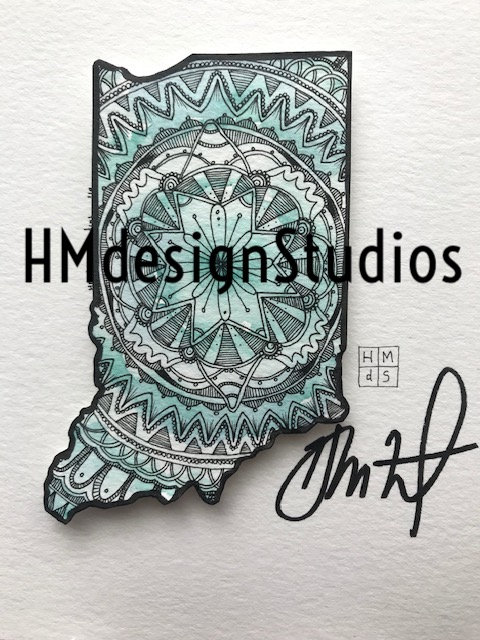 ORIGINAL Indiana State Shape, Watercolor and Pen & Ink by Haylee McFarland