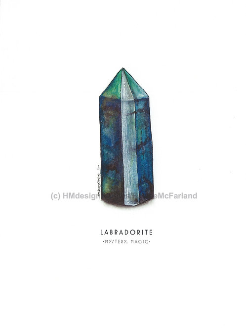 Labradorite Crystal Greeting Cards, Watercolor and Pen & Ink by Haylee McFarland